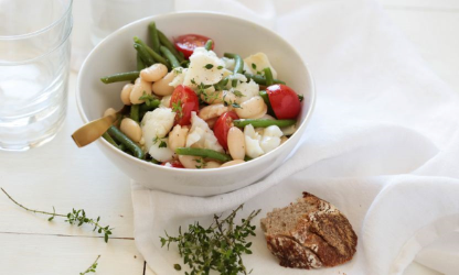 Tarbais beans salad with cod