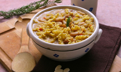 Tarbais beans soup and pasta